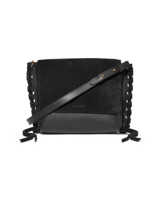 Isabel Marant - Black Asli Whipstitched Leather And Suede Shoulder Bag - Lyst