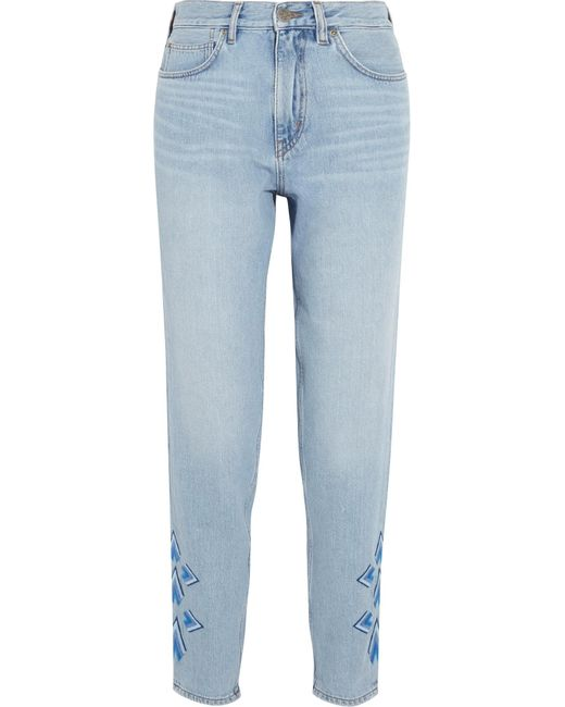 Mih jeans linda cropped embroidered high rise straight leg