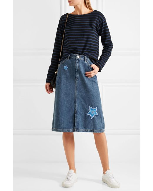 Mih Jeans Parra Embroidered Denim Skirt In Blue  Lyst