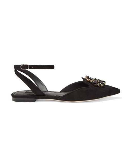 Dolce & Gabbana | Black Bellucci Crystal-embellished Suede Point-toe Flats | Lyst