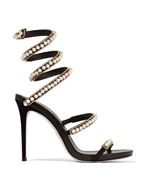 Rene Caovilla | White Embellished Suede And Leather Sandals | Lyst