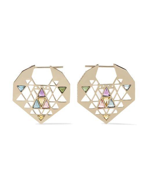 Noor Fares | Metallic Chandbali 18-karat Gray Gold Multi-stone Earrings | Lyst