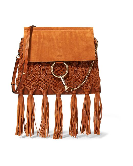 Chloé | Brown Faye Medium Braided Leather And Suede Shoulder Bag | Lyst