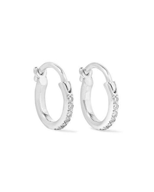 Ileana Makri - Metallic 18-karat White Gold Diamond Hoop Earrings - Lyst