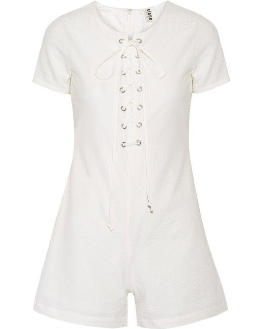 Solid & Striped - White Staud Arabella Lace-up Cotton-seersucker Playsuit - Lyst