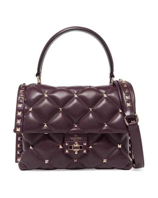 Valentino - Purple Garavani Candystud Quilted Leather Shoulder Bag - Lyst