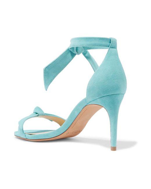 Clarita Bow-embellished Suede Sandals - Sky blue Alexandre Birman SGVzYvr2py