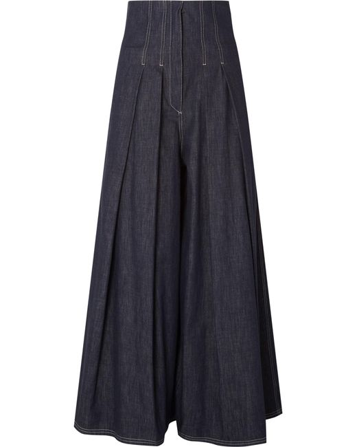 Brunello Cucinelli | Blue Pleated High-rise Wide-leg Jeans | Lyst