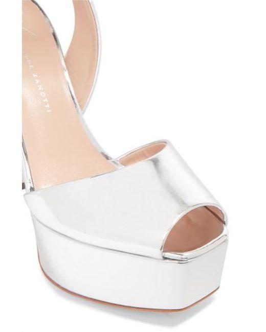 b5fea33c81f34 ... Giuseppe Zanotti - Metallic Lavinia Mirrored-leather Platform Sandals -  Lyst