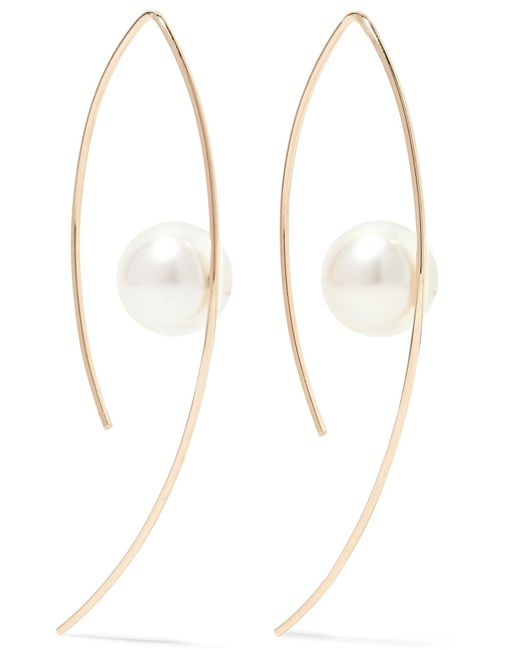 Mizuki   Metallic 14-karat Gold Pearl Earrings   Lyst