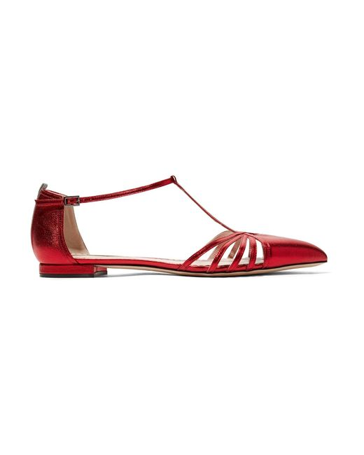 SJP by Sarah Jessica Parker | Red Carrie Metallic Leather Point-toe Flats | Lyst