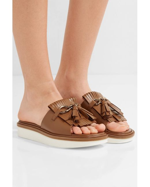 Tod S Fringed Leather Platform Sandals In Brown Save 60