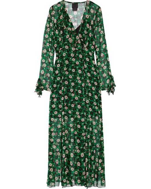 Anna Sui | Green Ruffle-trimmed Floral-print Silk-georgette Wrap Dress | Lyst