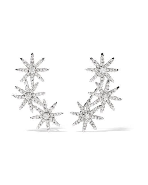Kenneth Jay Lane | Metallic Starburst Silver-plated Cubic Zirconia Earrings | Lyst