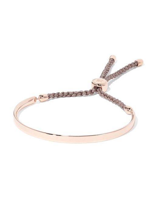 Monica Vinader | Silver Fiji Rose Gold-plated And Woven Bracelet | Lyst