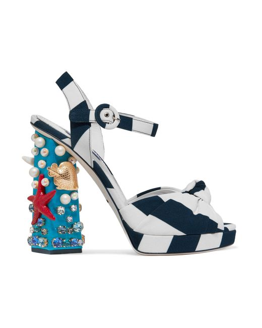 Dolce & Gabbana | Blue 105mm Keira Sea Embellished Cady Sandals | Lyst