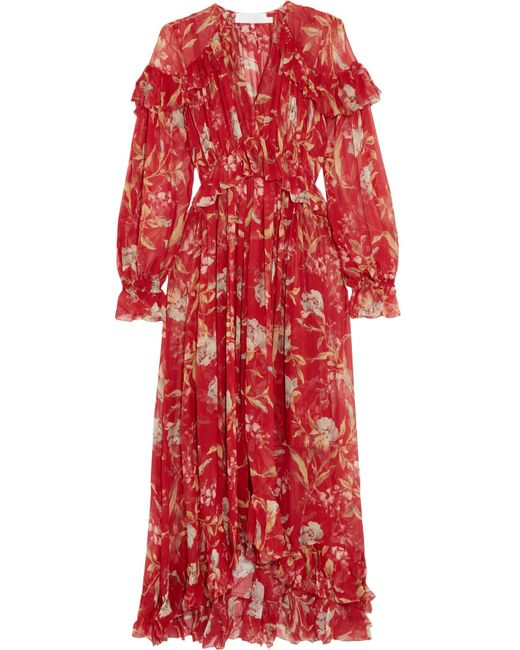 Zimmermann - Red Corsair Ruffled Floral-print Crepon Midi Dress - Lyst