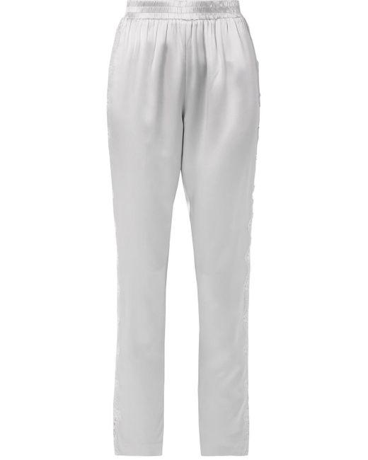 Fleur du Mal - Gray Lace-trimmed Silk-satin Pajama Pants - Lyst