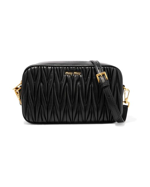 Miu Miu | Black Matelassé Leather Camera Bag | Lyst