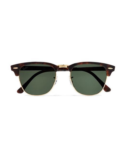 52ef40181b0e ... sweden ray ban brown clubmaster tortoiseshell acetate and gold tone  sunglasses lyst 6f178 bddf7