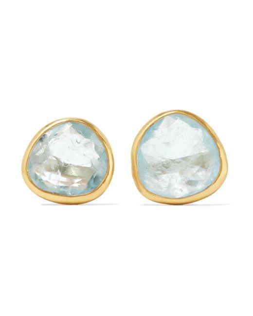 Pippa Small   Metallic 18-karat Gold Aquamarine Earrings   Lyst