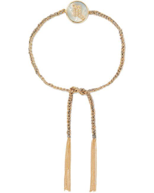 Carolina Bucci | Metallic Scorpio Lucky Zodiac 18-karat Gold, Diamond, Mother-of-pearl And Silk Bracelet | Lyst