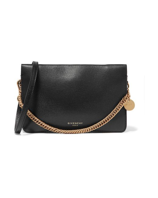 Givenchy - Black Gv Textured-leather And Suede Shoulder Bag - Lyst