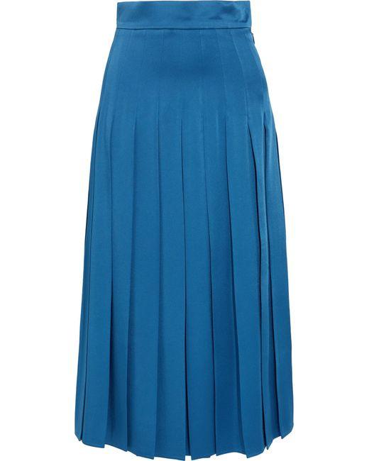 Fendi | Blue Pleated Cady Midi Skirt | Lyst