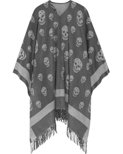 Alexander McQueen | Gray Reversible Intarsia Wool And Cashmere-blend Scarf | Lyst