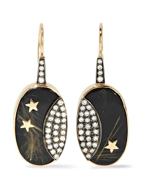 Andrea Fohrman | Metallic 14-karat Gold, Rhodium-plated And Multi-stone Earrings | Lyst