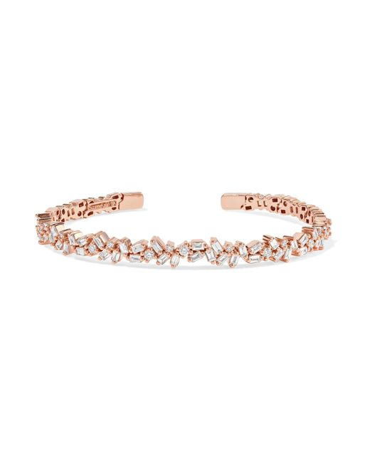Suzanne Kalan - Metallic 18-karat Rose Gold Diamond Cuff Rose Gold One Size - Lyst