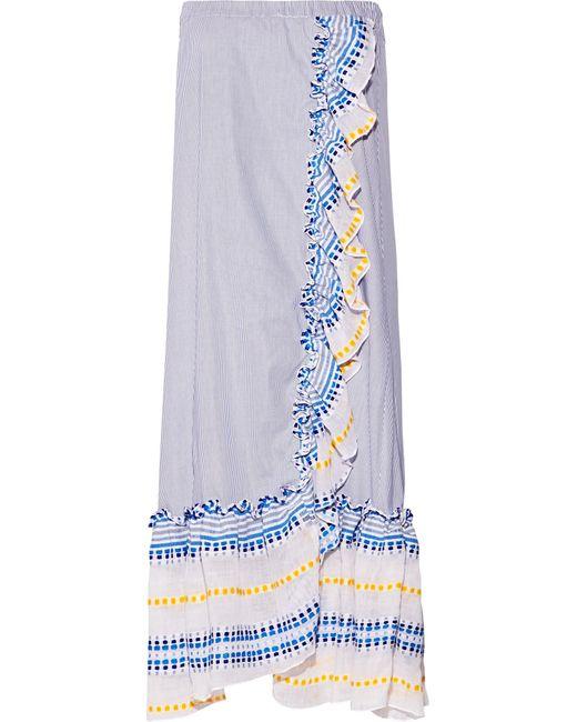 Lemlem | Blue Mwali Convertible Gauze-trimmed Striped Cotton-blend Dress | Lyst