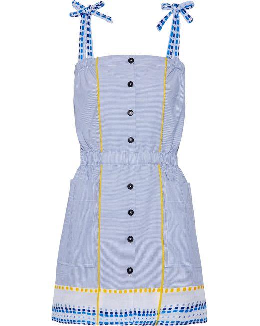 Lemlem   Blue Mwali Gauze-trimmed Striped Cotton-blend Mini Dress   Lyst