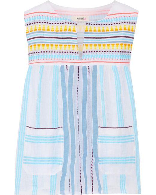 Lemlem | Blue Edna Striped Cotton-gauze Top | Lyst