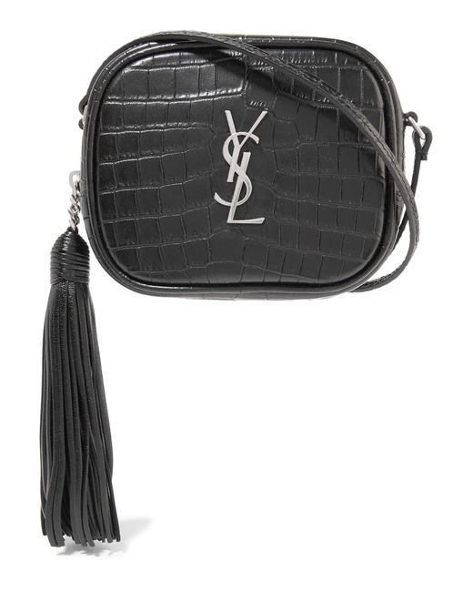 Saint Laurent | Black Monogramme Blogger Croc-effect Leather Shoulder Bag | Lyst
