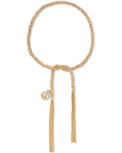 Carolina Bucci | Metallic Peace Lucky 18-karat Gold And Silk Charm Bracelet | Lyst