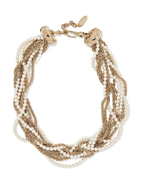 Lanvin - Metallic Gold-plated Faux Pearl Necklace - Lyst