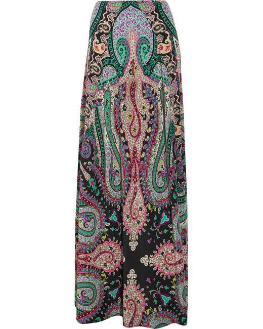 Etro | Green Printed Silk Crepe De Chine Maxi Skirt | Lyst