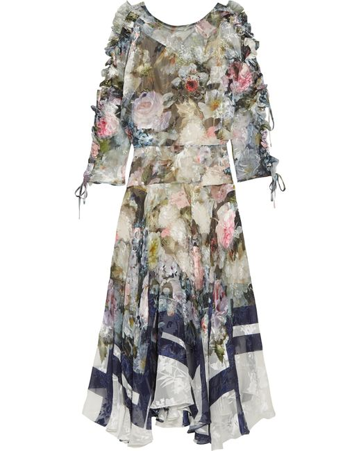 Preen By Thornton Bregazzi | Blue Jenna Floral-print Devoré Silk-blend Chiffon Midi Dress | Lyst