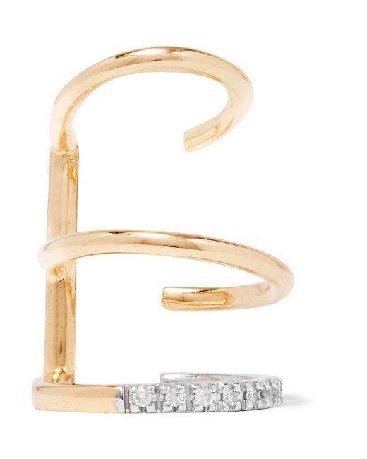 Maria Black   Metallic Laurel Blanc 18-karat Gold, Rhodium-plated And Diamond Ear Cuff   Lyst