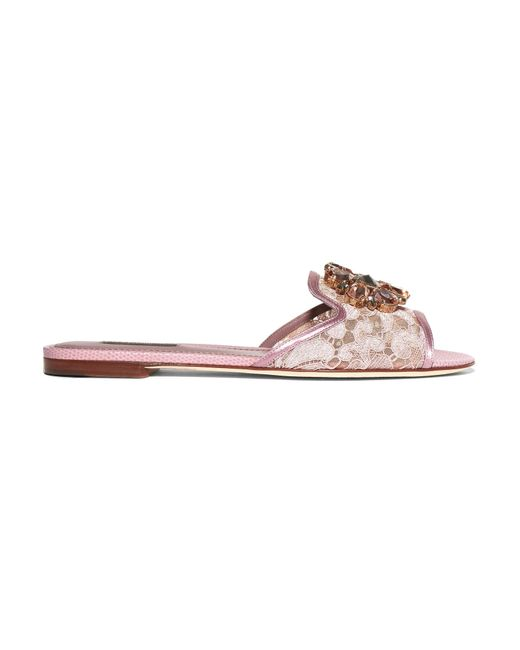Dolce & Gabbana | Multicolor Embellished Corded Lace And Lizard-effect Leather Slides | Lyst