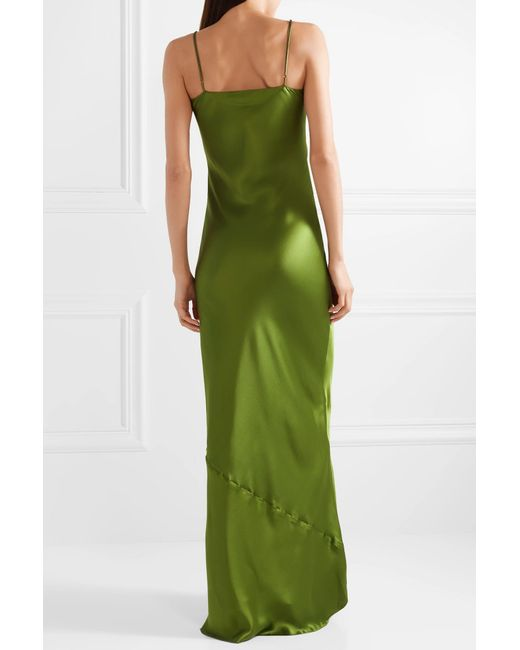 Cami Silk-satin Maxi Dress - Leaf green Nili Lotan kwdy9NttL7