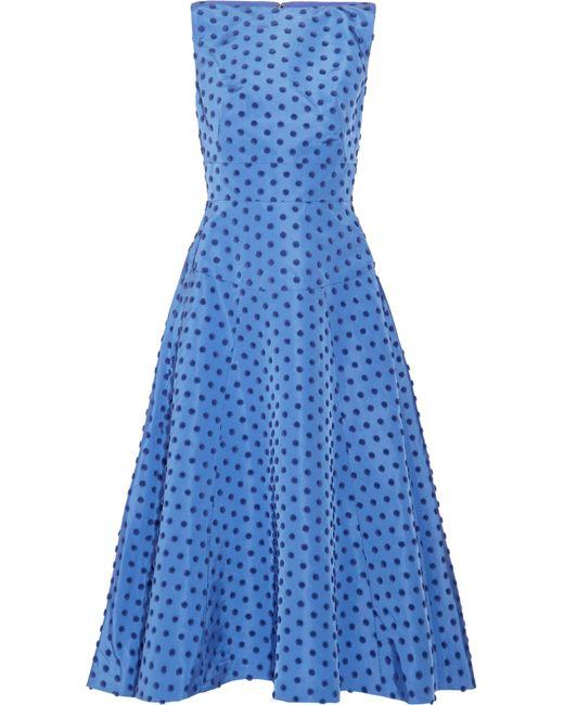 Lela Rose | Blue Flocked Silk-faille Midi Dress | Lyst