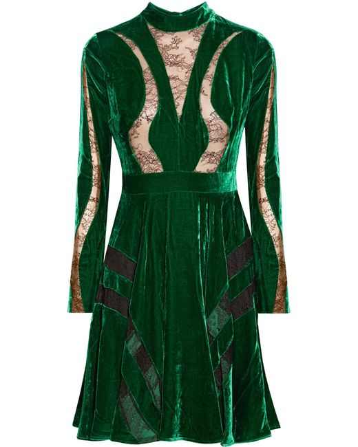 Elie Saab | Green Lace-paneled Crushed-velvet Dress | Lyst