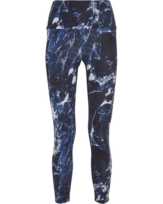 Norma Kamali | Blue Printed Stretch-jersey Leggings | Lyst