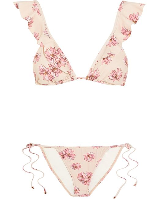 Eberjey | Pink Flying Lotus Ruffled Floral-print Triangle Bikini | Lyst