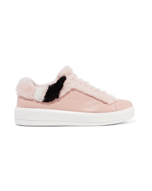 Prada | Pink Shearling-trimmed Leather Sneakers | Lyst