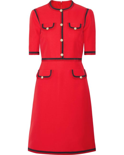 Gucci | Red Grosgrain-trimmed Wool And Silk-blend Cady Mini Dress | Lyst