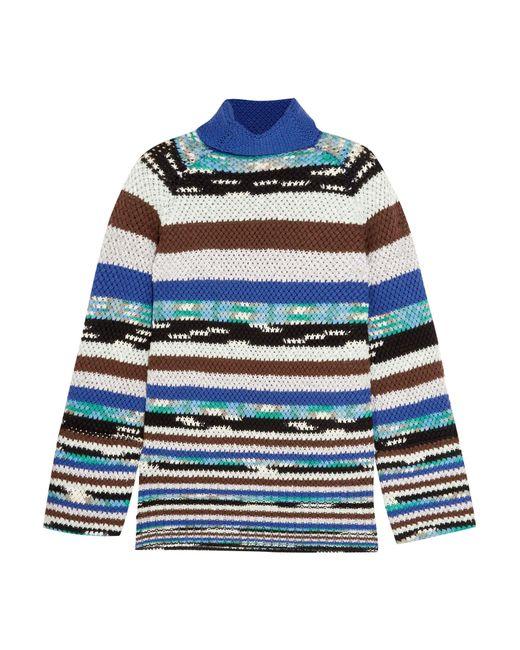 Missoni | Blue Striped Wool-blend Turtleneck Sweater | Lyst