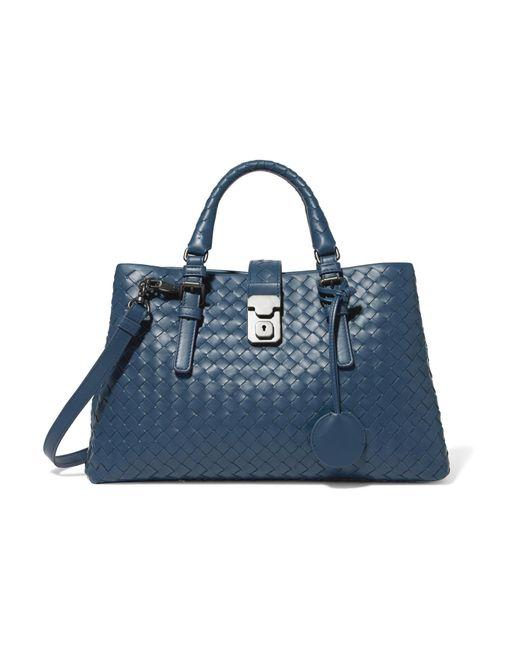Bottega Veneta   Blue Roma Small Intrecciato Leather Tote   Lyst